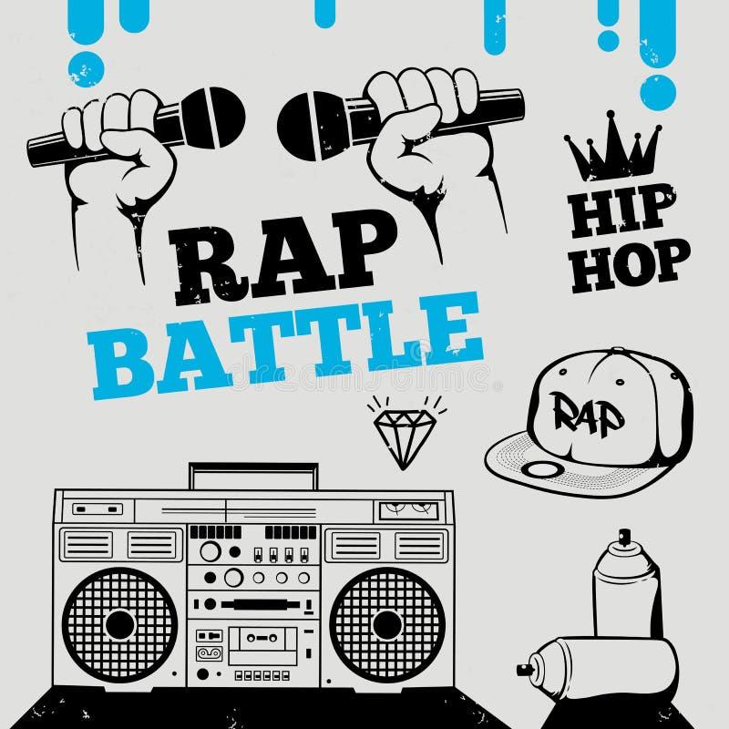 Rapporteur-slag, hiphop, het ontwerpelementen van de breakdancemuziek royalty-vrije illustratie
