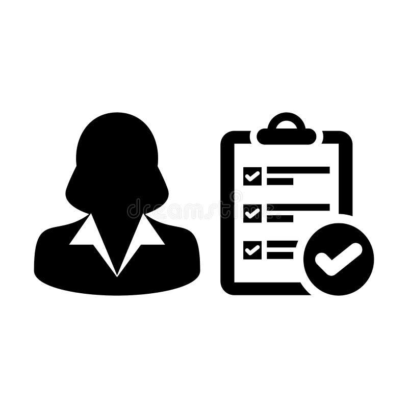 Rapportez à vecteur d'icône l'avatar de profil de personne féminine avec le document de liste de contrôle d'enquête et faites tic illustration libre de droits