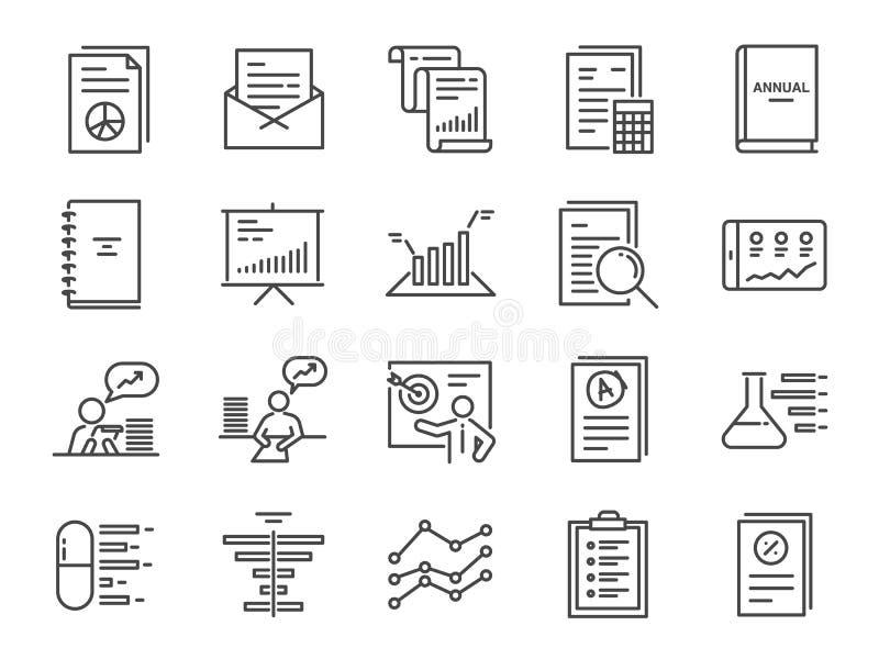 Rapportez l'ensemble d'icône A inclus les icônes en tant que le rapport, le document d'impôts, l'essai en laboratoire, le bilan,  illustration libre de droits