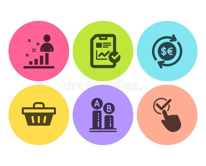 Rapportkontrollista, shoppingkorg och uppsättning för Ab-provningssymboler Pengarvaluta, statistik- och Checkboxtecken vektor stock illustrationer