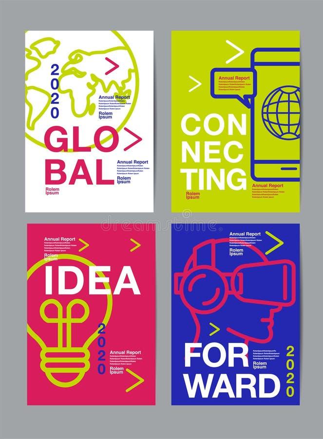 Rapporto annuale 2018,2019,2020, progettazione della disposizione del modello, libro della copertura vector l'illustrazione, fond royalty illustrazione gratis