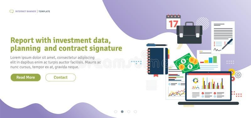 Rapporto con i dati di investimento, la pianificazione e la firma di contratto illustrazione vettoriale