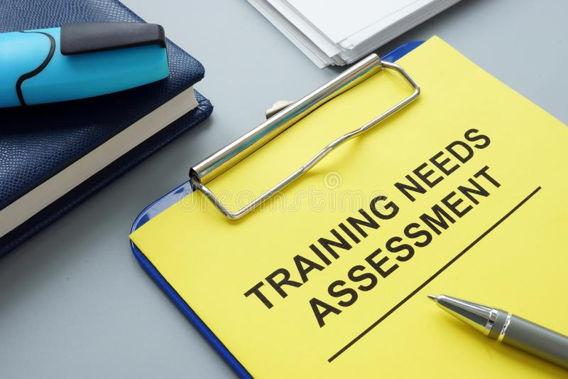 Rapporto del TNA di valutazione di bisogni di formazione professionale fotografia stock libera da diritti