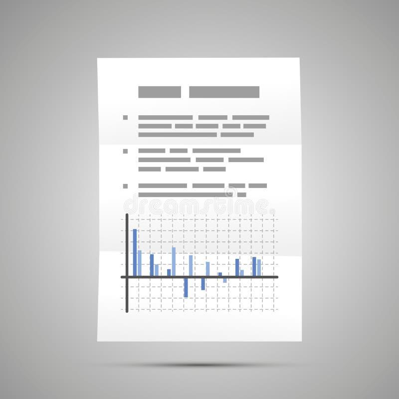 Rapporto di borsa valori con il diagramma, icona del documento di dimensione A4 con ombra illustrazione di stock