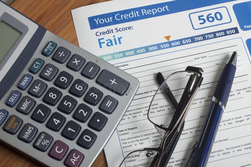 Rapporto di credito con il punteggio immagine stock