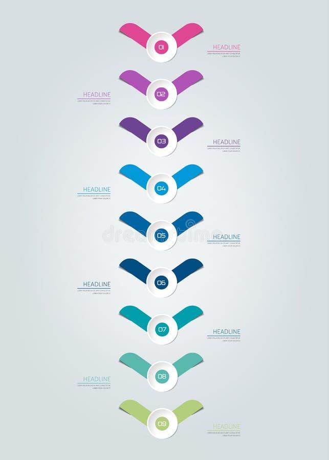Rapporto di cronologia di Infographic, modello, grafico, schema illustrazione di stock