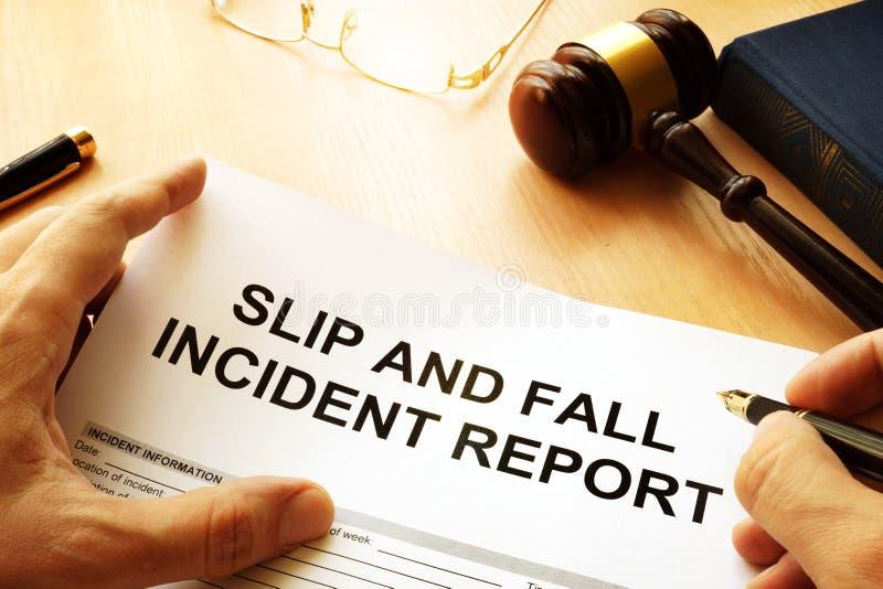 Rapporto di lesione di caduta e di slittamento fotografia stock