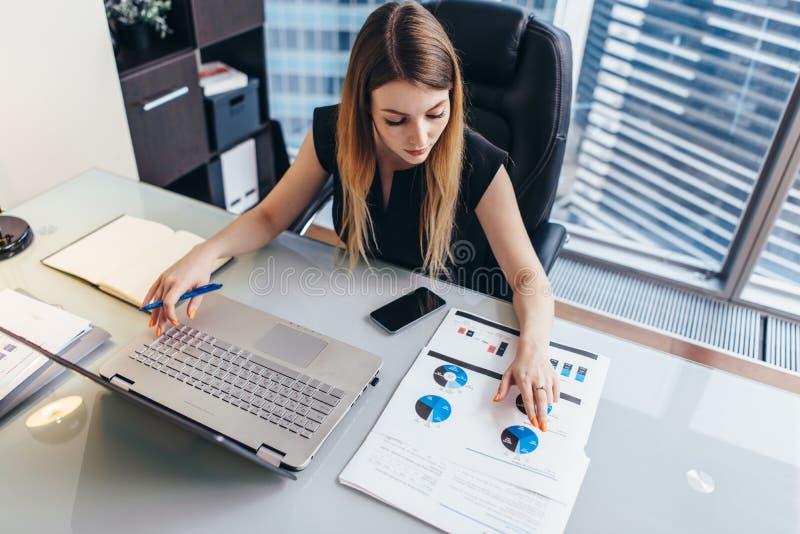 Rapporto finanziario del readind femminile della donna di affari che analizza le statistiche che indicano al diagramma a torta ch immagini stock libere da diritti