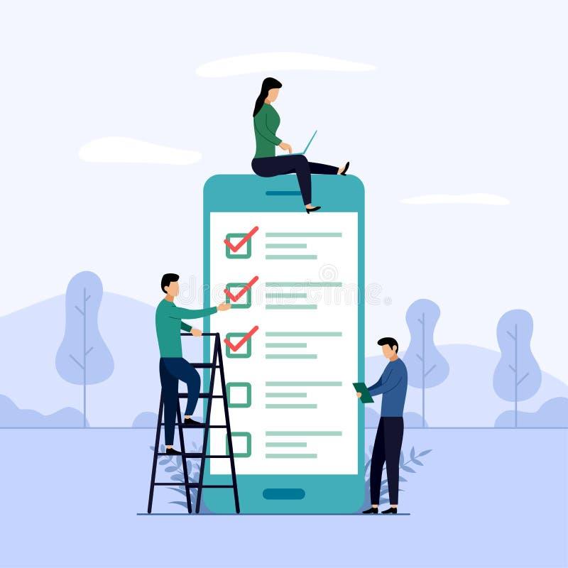 Rapporto online di indagine, lista di controllo, questionario, illustrazione di concetto di affari illustrazione di stock