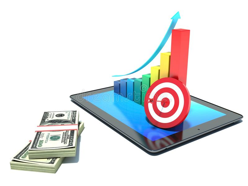 Rapporto & statistiche finanziari. Grafico. Soldi illustrazione di stock