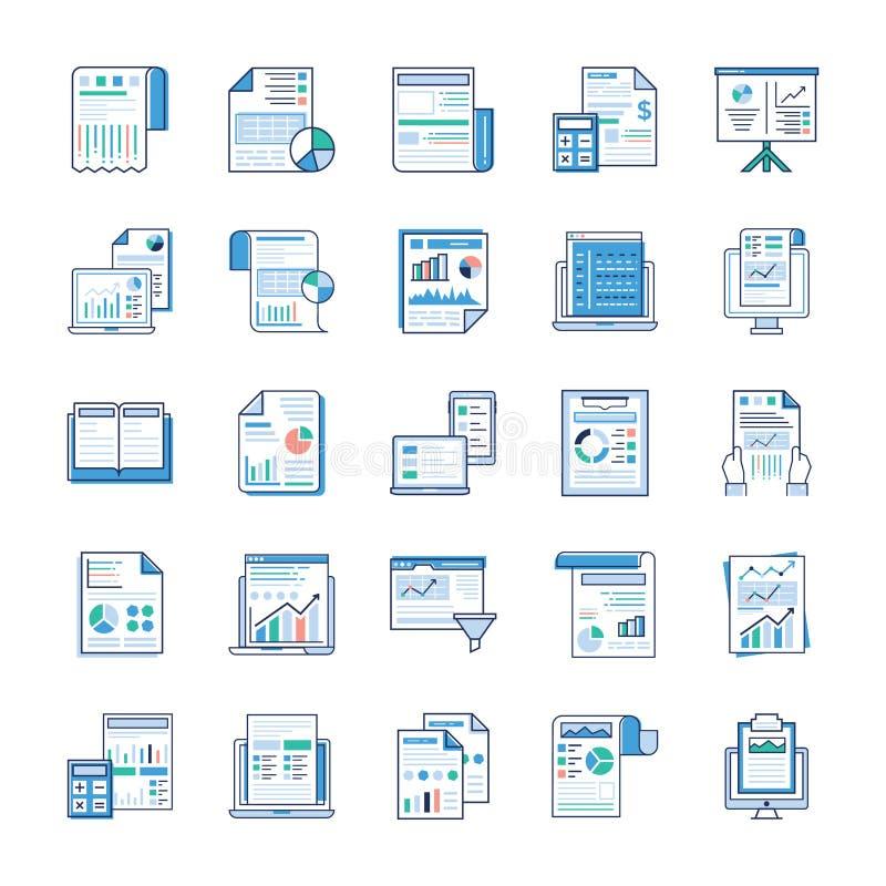 Rapports de gestion, ic?nes plates d'analyse statique illustration stock