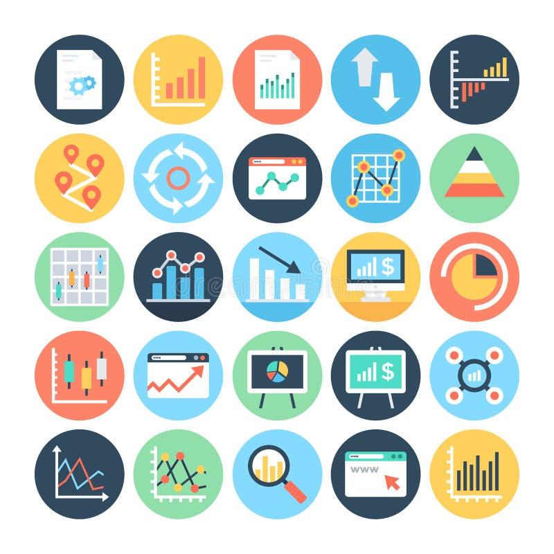 Rapports et icônes 5 de vecteur colorées par Analytics images stock