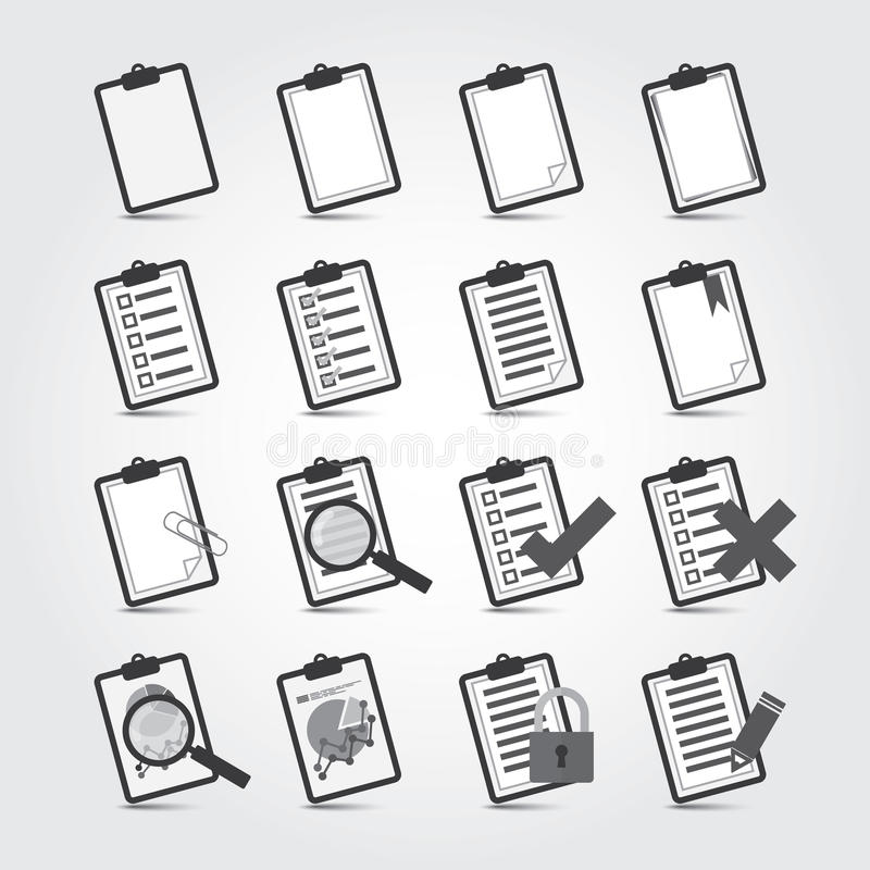 Rapportsymbolsuppsättning stock illustrationer