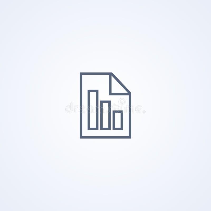 Rapporttekstbestand, vector beste grijs lijnpictogram royalty-vrije illustratie