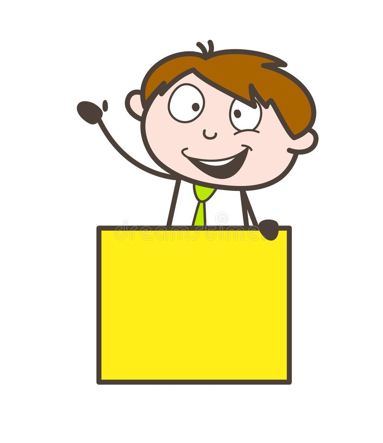 Rappresentante allegro felice con l'illustrazione di vettore del banner pubblicitario illustrazione di stock