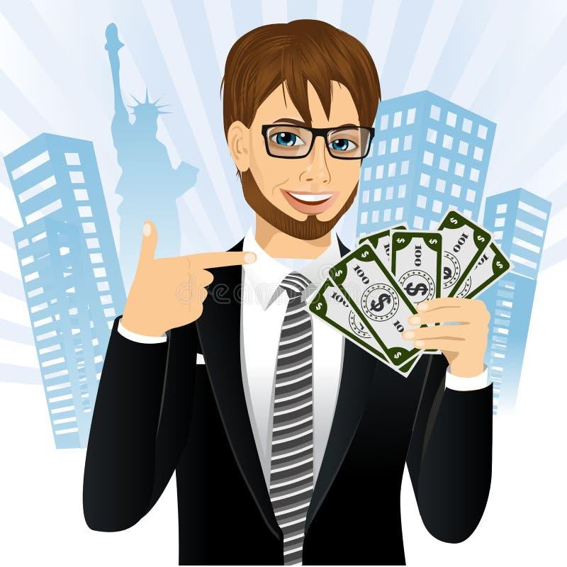 Rappresentante della Banca che tiene un fan di soldi illustrazione di stock