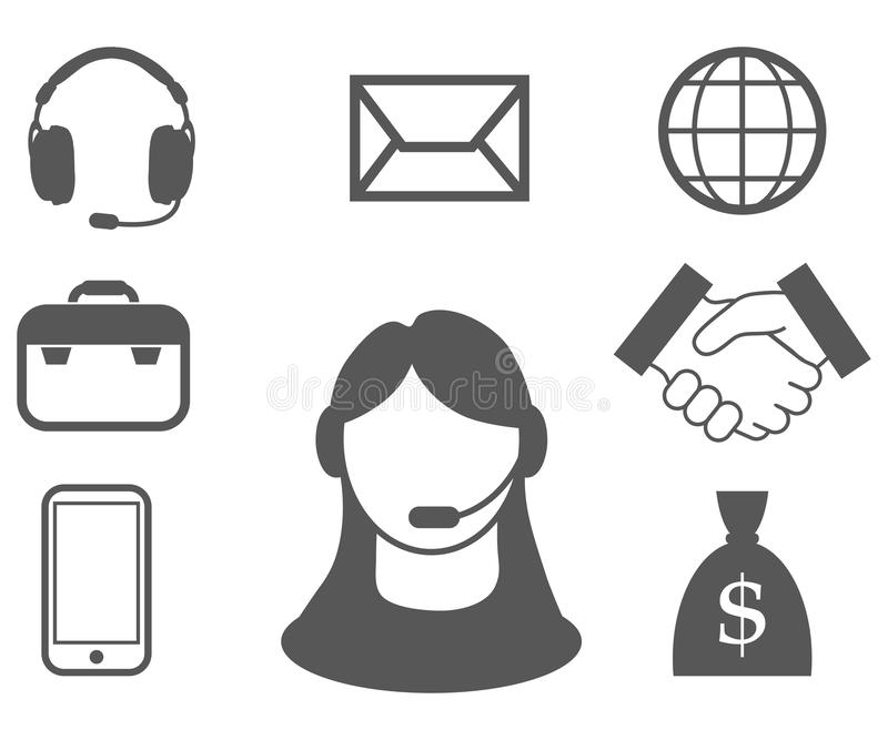 Rappresentante di servizio di assistenza al cliente, call center, icona di servizio di assistenza al cliente, operatore di teleco illustrazione di stock