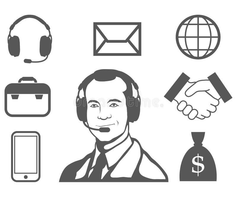 Rappresentante di servizio di assistenza al cliente, call center, icona di servizio di assistenza al cliente, operatore di teleco illustrazione vettoriale