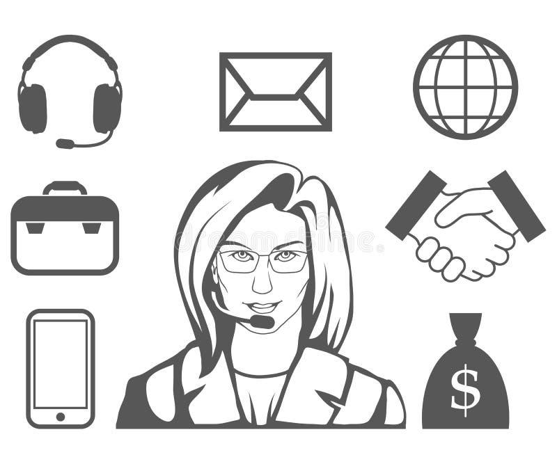 Rappresentante di servizio di assistenza al cliente, call center, icona di servizio di assistenza al cliente, operatore di teleco royalty illustrazione gratis