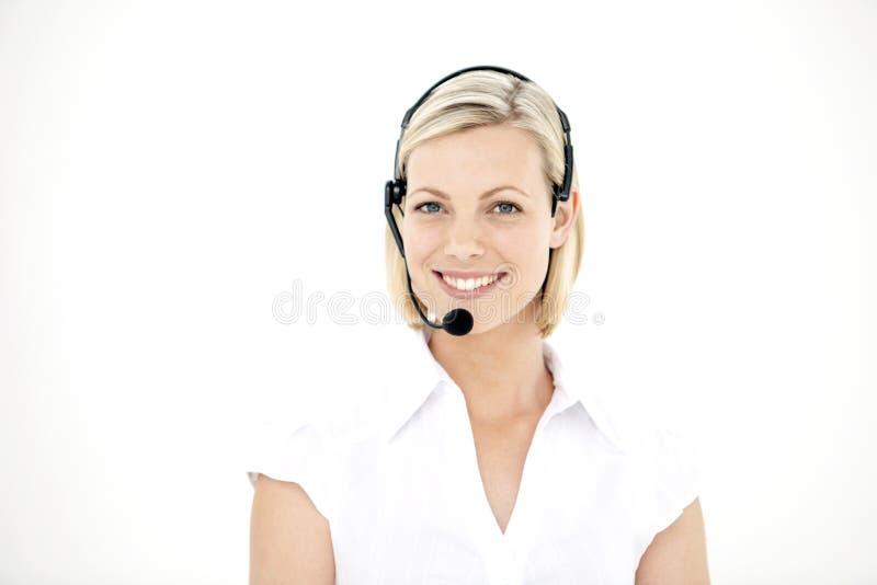 Rappresentante di servizio di assistenza al cliente con la cuffia avricolare - ritratto fotografie stock