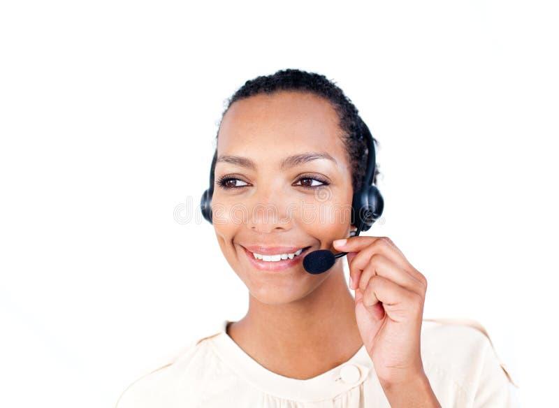Rappresentante di servizio di assistenza al cliente con la cuffia avricolare sopra fotografia stock