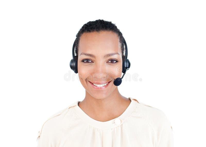 Rappresentante di servizio di assistenza al cliente con la cuffia avricolare sopra fotografie stock