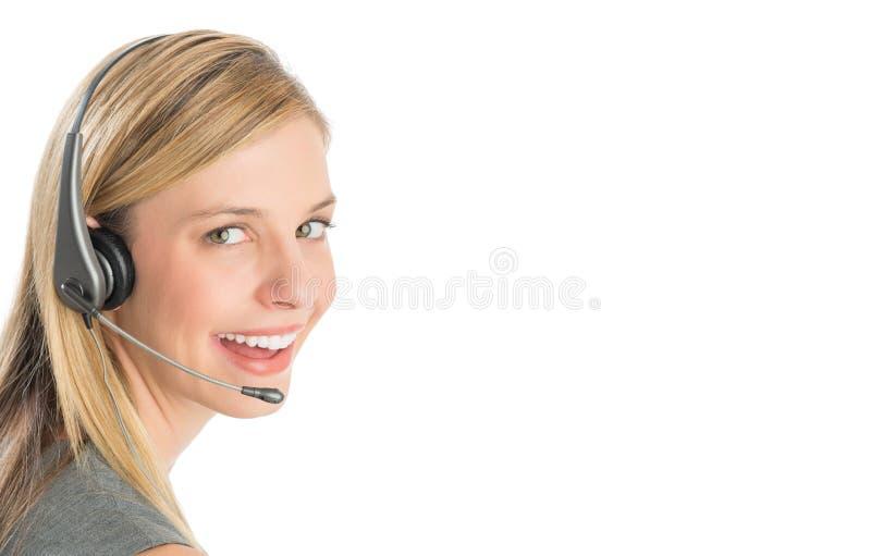 Rappresentante femminile Wearing Headset di servizio di assistenza al cliente immagine stock libera da diritti