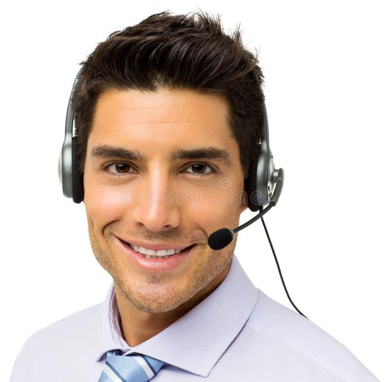 Rappresentante maschio Wearing Headset della call center immagini stock libere da diritti