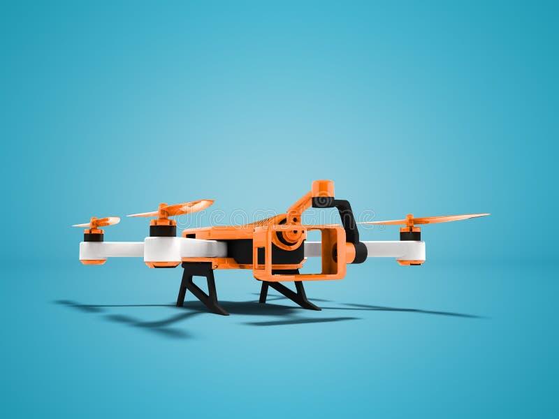 Rappresentazione arancio moderna di prospettiva 3d di vista del fuco del quadrocopter sul fondo blu con ombra royalty illustrazione gratis