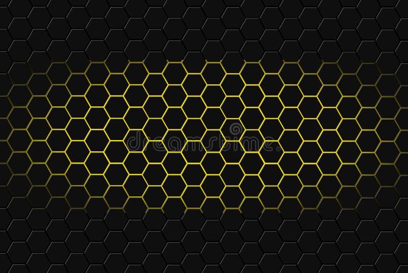 Rappresentazione astratta 3d della superficie futuristica con gli esagoni Fondo scuro yellowsci-fi fotografie stock