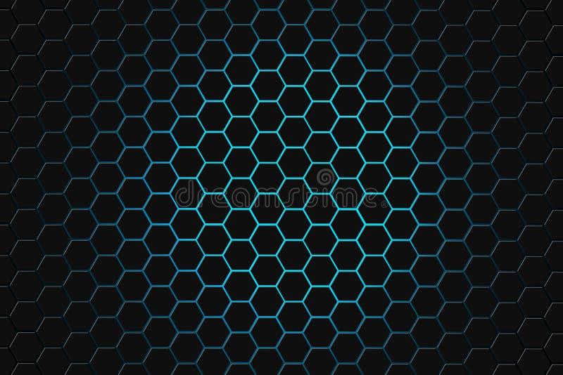 Rappresentazione astratta 3d della superficie futuristica con gli esagoni fondo verde scuro di fantascienza immagine stock