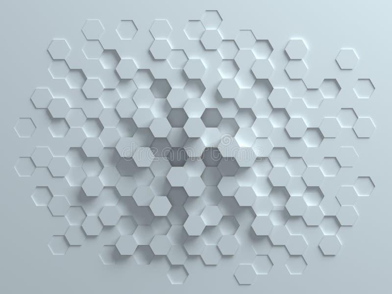 Rappresentazione astratta esagonale del fondo 3d illustrazione vettoriale