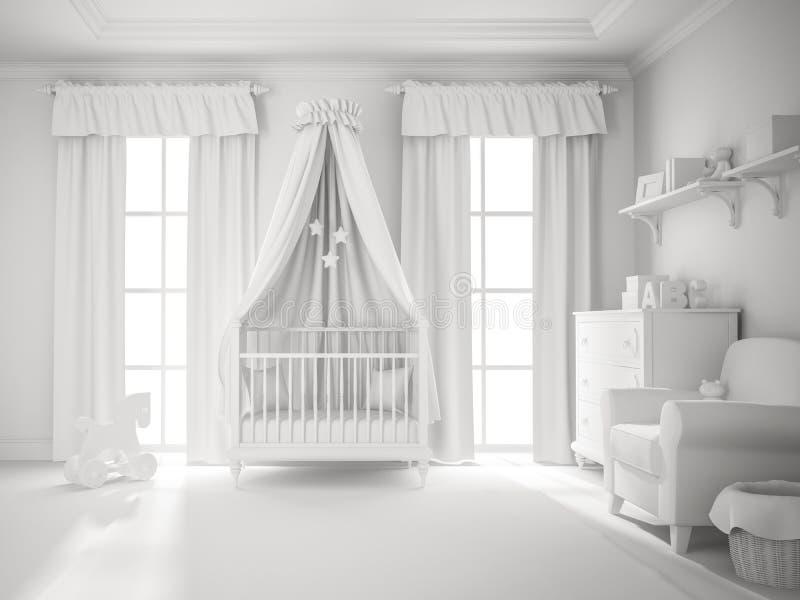 Rappresentazione bianca classica di colore 3D della stanza di bambini royalty illustrazione gratis