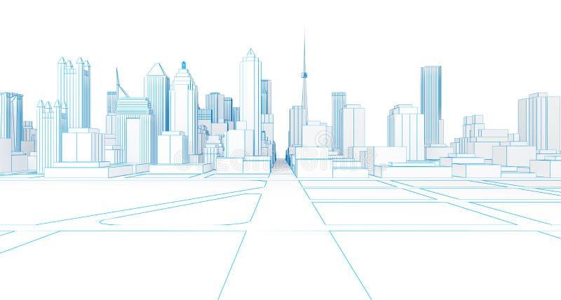 Rappresentazione bianca della città 3d del poli wireframe basso illustrazione di stock