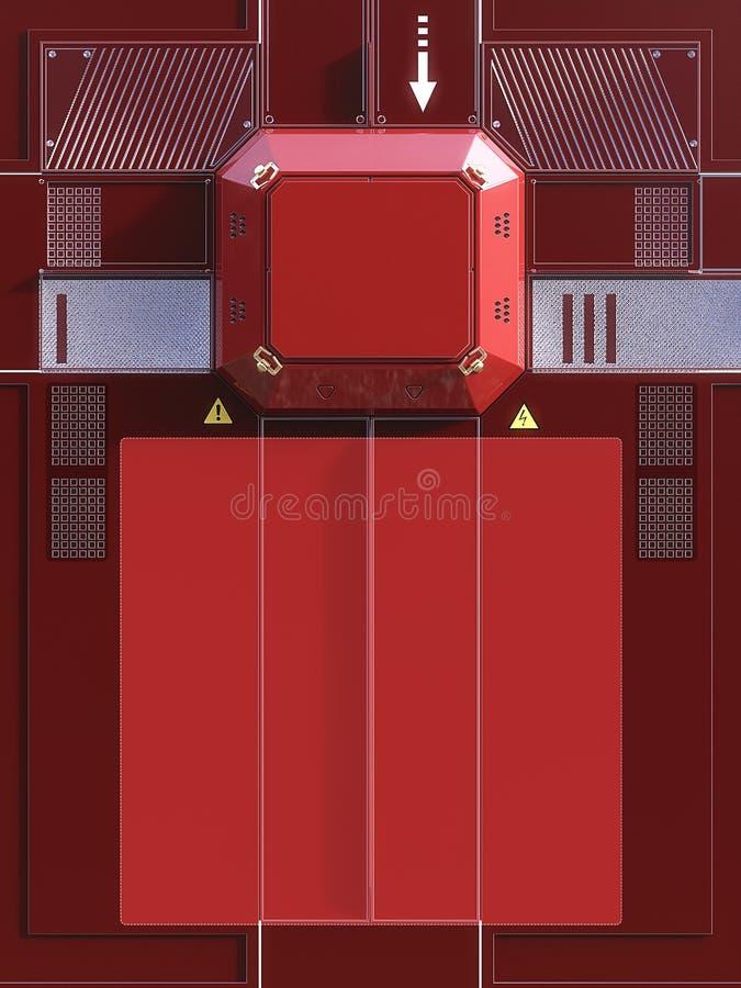 rappresentazione ciao della parete di tecnologia con il blocchetto del metallo per il logo ed i dettagli differenti Fondo di fant illustrazione vettoriale