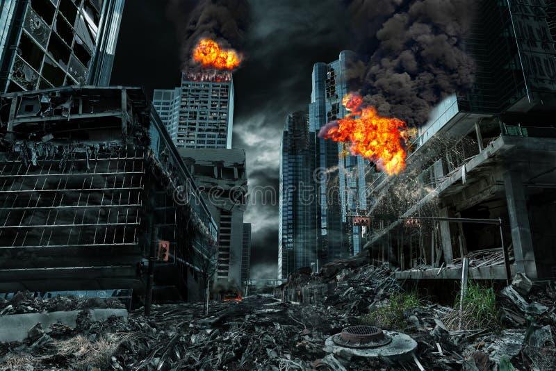 Rappresentazione cinematografica della città distrutta fotografia stock libera da diritti