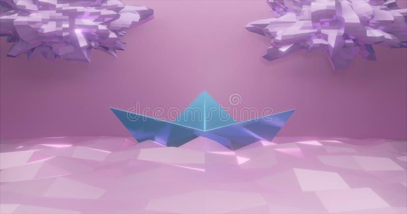 rappresentazione 3d Barca di carta fatta di carta leggera sui precedenti di basso poli mare e sulle nuvole di colore rosa-chiaro  royalty illustrazione gratis