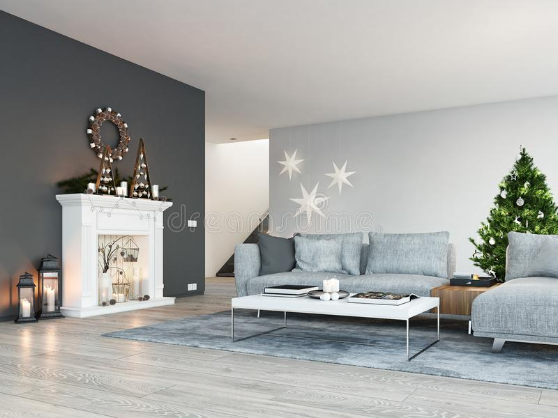rappresentazione 3d casa con il camino in appartamento moderno Decorazione di natale immagini stock libere da diritti