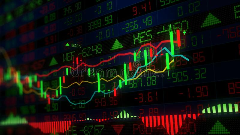 rappresentazione 3D degli indici di borsa nello spazio virtuale Sviluppo economico, recessione immagine stock libera da diritti