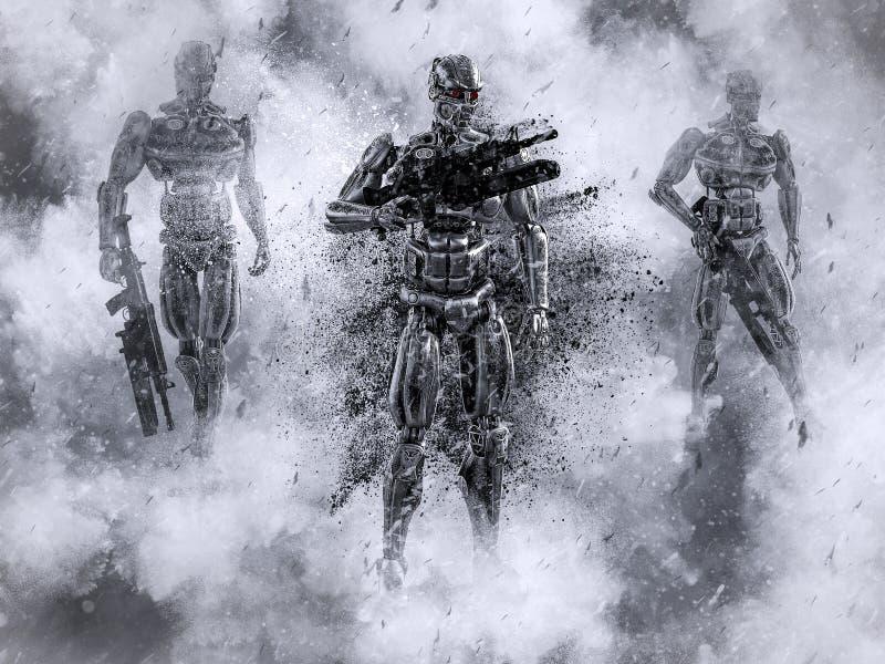 rappresentazione 3D dei soldati mech futuristici nella guerra illustrazione di stock