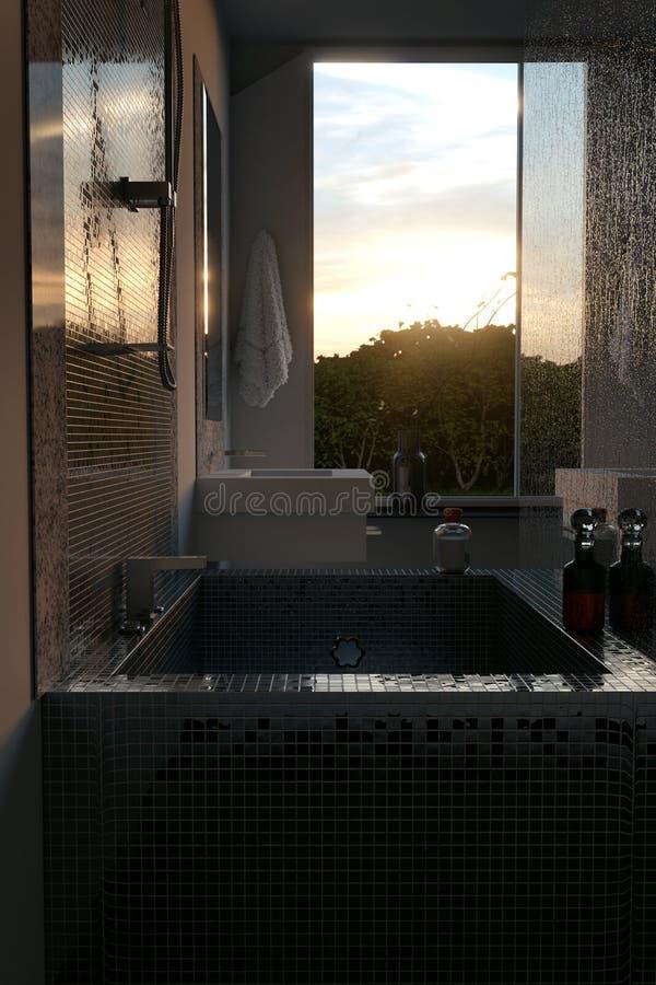 rappresentazione 3d del bagno di lusso con le tessere Vista dal pipistrello royalty illustrazione gratis