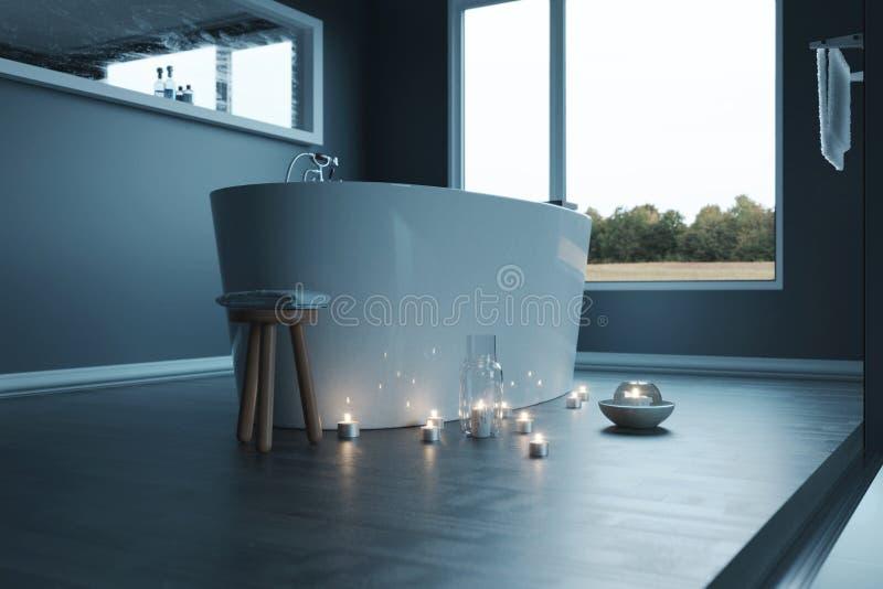 rappresentazione 3d del bagno grigio di lusso con le luci della vasca e della candela di isolato fotografia stock libera da diritti