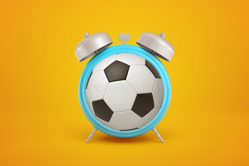 rappresentazione 3d del calcio a forma di palla come sveglia su fondo giallo fotografia stock libera da diritti