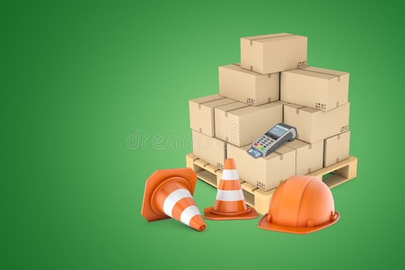rappresentazione 3d del casco arancio e di due coni d'avvertimento davanti al pallet di legno caricato con le scatole di cartone  immagine stock libera da diritti