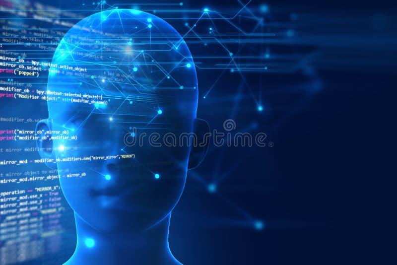 rappresentazione 3d del cervello umano sul fondo di linguaggio di programmazione illustrazione vettoriale