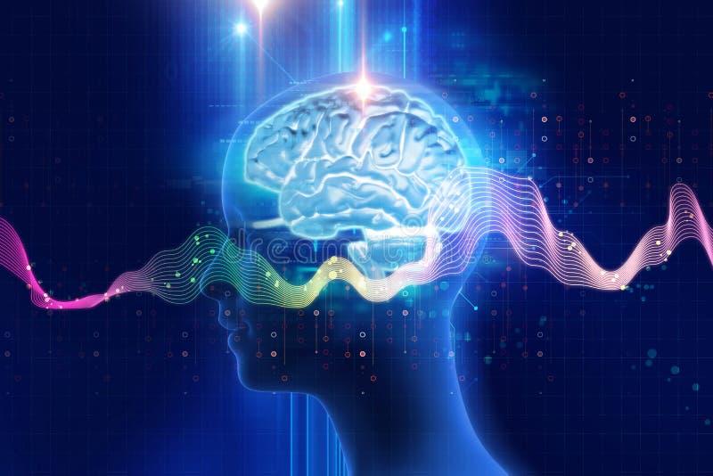 rappresentazione 3d del cervello umano sul fondo di tecnologia illustrazione vettoriale