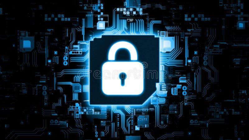 rappresentazione 3D del concetto astratto di sicurezza globale di Internet facendo uso di intelligenza artificiale fotografia stock libera da diritti