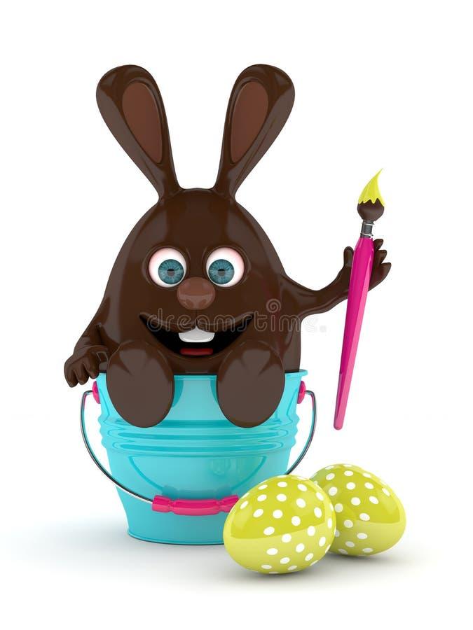 rappresentazione 3d del coniglietto del cioccolato di Pasqua con le uova royalty illustrazione gratis