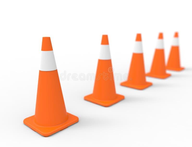 rappresentazione 3d del cono di traffico isolata nel fondo bianco dello studio illustrazione di stock