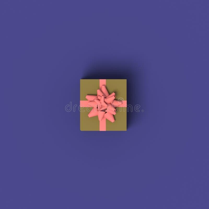 RAPPRESENTAZIONE 3D del CONTENITORE di REGALO SINGOLO CON il NASTRO dalla VISTA SUPERIORE illustrazione di stock
